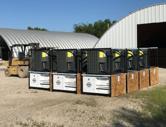 Subcooled 705 Cannabis Dehumidifiers on pallets ready to be shipped to a U.S. grow room.