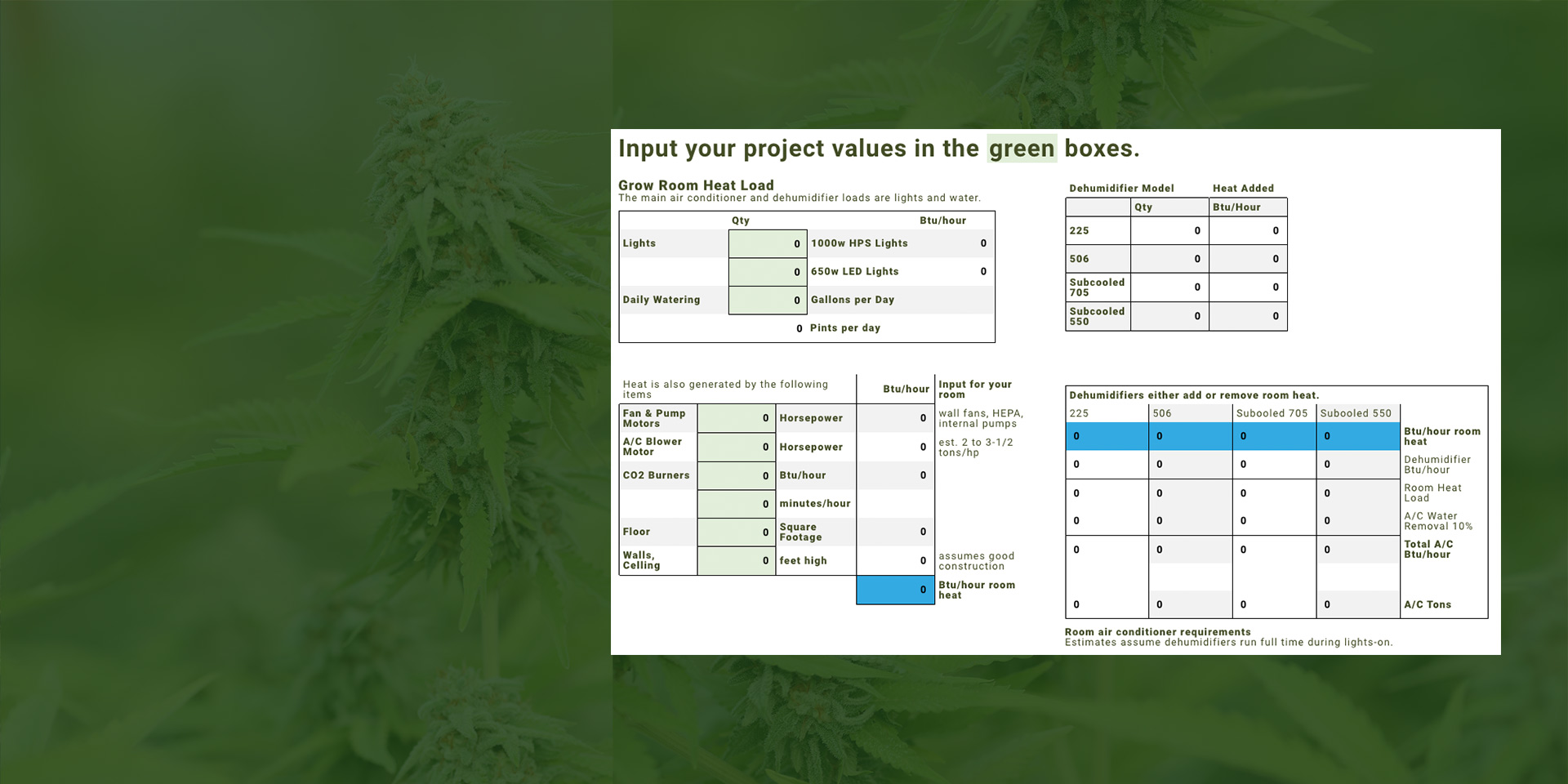 Picture of Subcooled Air's grow room HVAC calculator